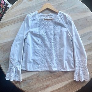 Gap Cotton Embroidered Bell Sleeve Shirt